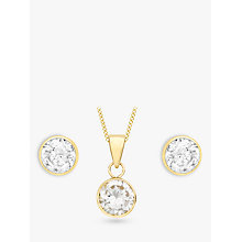 Buy IBB 9ct Yellow Gold Cubic Zirconia Pendant and Stud Earrings Set, Gold Online at johnlewis.com