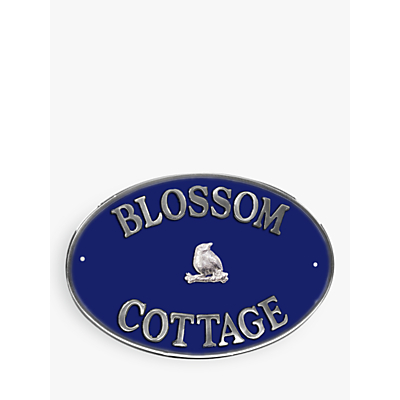 The House Nameplate Company Personalised Aluminium Oval House Sign, Bird Motif, Large