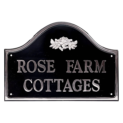 The House Nameplate Company Personalised Polished Aluminium Bridge House Sign, Wild Rose Motif, Medium
