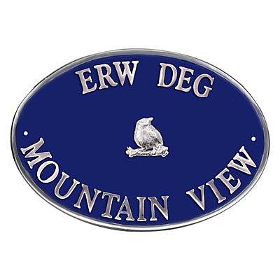 The House Nameplate Company Personalised Aluminium Oval House Sign, Bird Motif