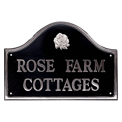 The House Nameplate Company Personalised Polished Aluminium Bridge House Sign, Rose Motif, Medium