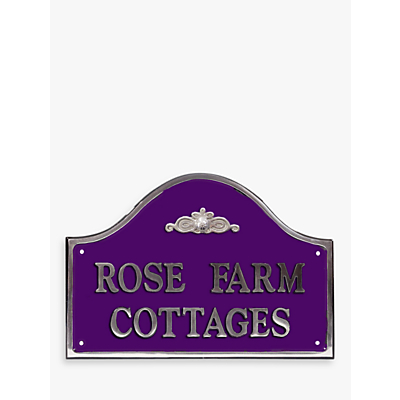 The House Nameplate Company Personalised Polished Aluminium Bridge House Sign, Flower Scroll Motif, Medium