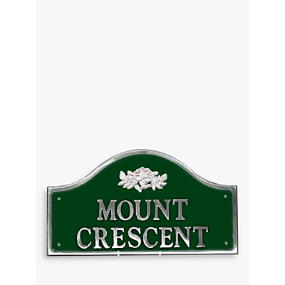 The House Nameplate Company Personalised Polished Aluminium Bridge House Sign, Wild Rose Motif, Small
