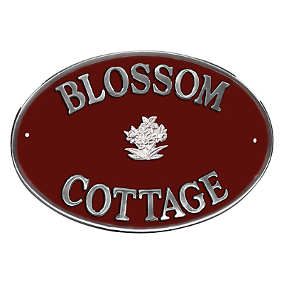The House Nameplate Company Personalised Aluminium Oval House Sign, Daffodil Motif, Large