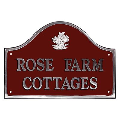 The House Nameplate Company Personalised Polished Aluminium Bridge House Sign, Daffodil Motif, Medium
