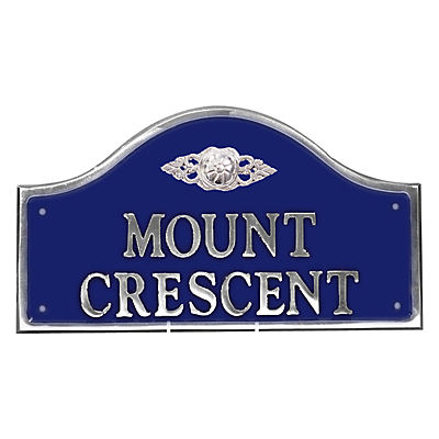The House Nameplate Company Personalised Polished Aluminium Bridge House Sign, Flower Scroll Motif, W36 x H19cm, Small