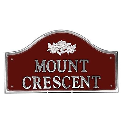 The House Nameplate Company Personalised Polished Aluminium Bridge House Sign, Wild Rose Motif, Small