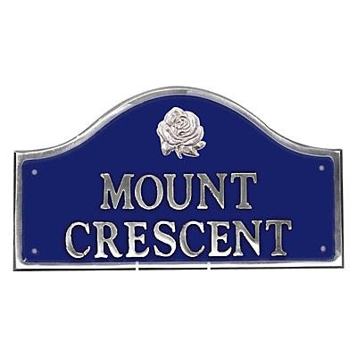 The House Nameplate Company Personalised Polished Aluminium Bridge House Sign, Rose Motif, Small