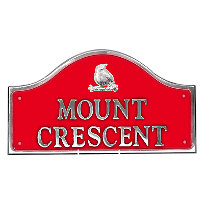 The House Nameplate Company Personalised Polished Aluminium Bridge House Sign, Bird Motif, Small