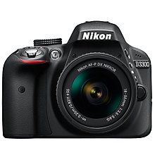 "Buy Nikon D3300 Digital SLR Camera with 18-55mm Lens, HD 1080p, 24.2MP, Optical ViewFinder,  3"" LCD Monitor, Black Online at johnlewis.com"