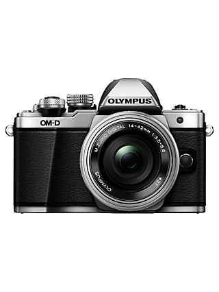 "Olympus OM-D E-M10 Mark II Compact System Camera with 14-42mm EZ Lens, HD 1080p, 16.1MP, Wi-Fi, OLED EVF, 3"" LCD Touch Screen, Silver"