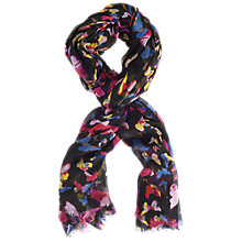 Buy Chesca Butterfly Print Scarf, Black/Pink Online at johnlewis.com