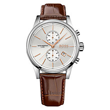 Buy HUGO BOSS 21513280 Men's Jet Chronograph Date Leather Strap Watch, Brown/Silver Online at johnlewis.com