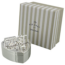 Buy John Lewis 1st Tooth and Curl Heart Silver Plated Box Online at johnlewis.com
