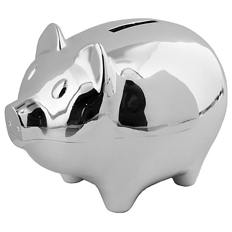 Buy John Lewis Silver Plated Piggy Bank Online at johnlewis.com