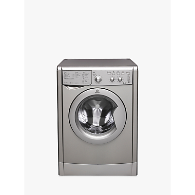 Indesit IWDC6125S Freestanding Washer Dryer, 6kg Wash/5kg Dry Load, B Energy Rating, 1200rpm Spin, Silver