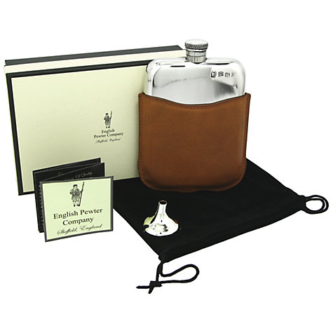 Buy English Pewter Company Flask & Leather Pouch Online at johnlewis.com