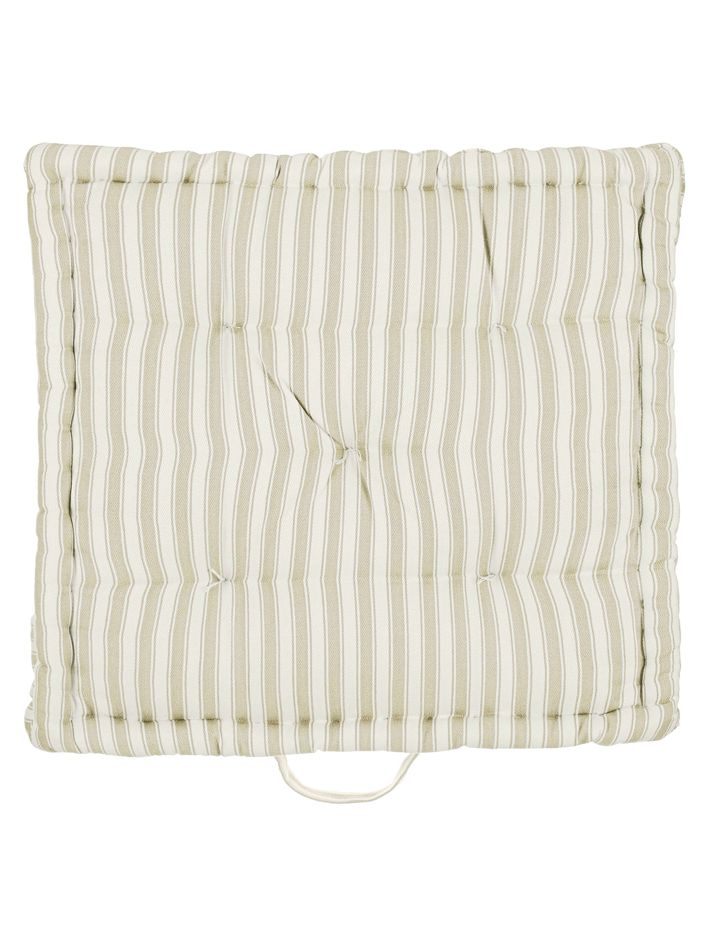 Ticking Stripe Boxed Seat Pad Greige