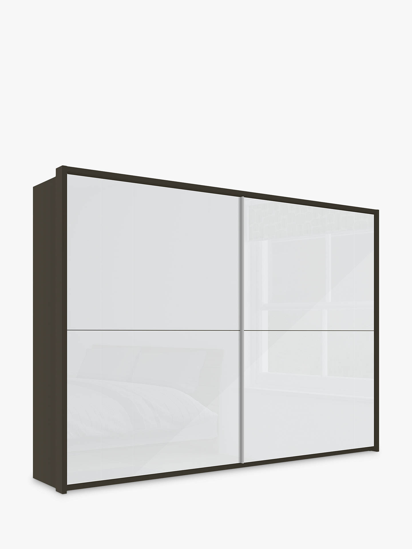 BuyJohn Lewis & Partners Girona 300cm Wardrobe With Glass Sliding Doors, White Glass/Havana Online at johnlewis.com