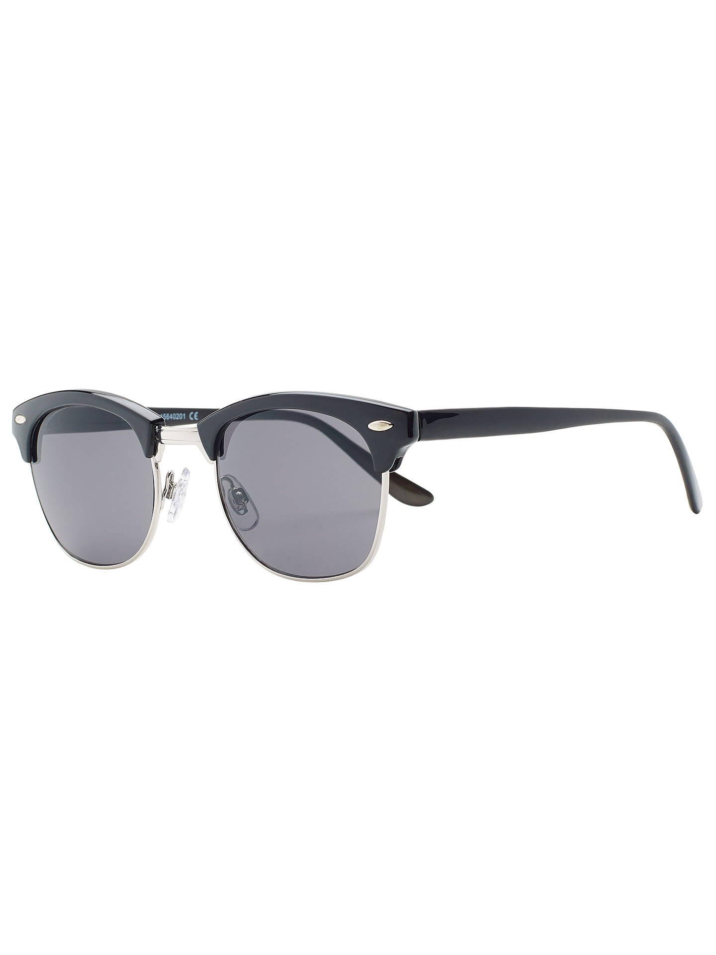 BuyJohn Lewis Plain Clubmaster Square Sunglasses, Black Online at johnlewis.com