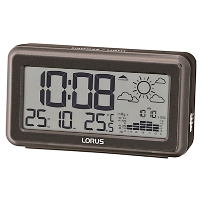 Lorus Weather Forecast Alarm Clock, Black