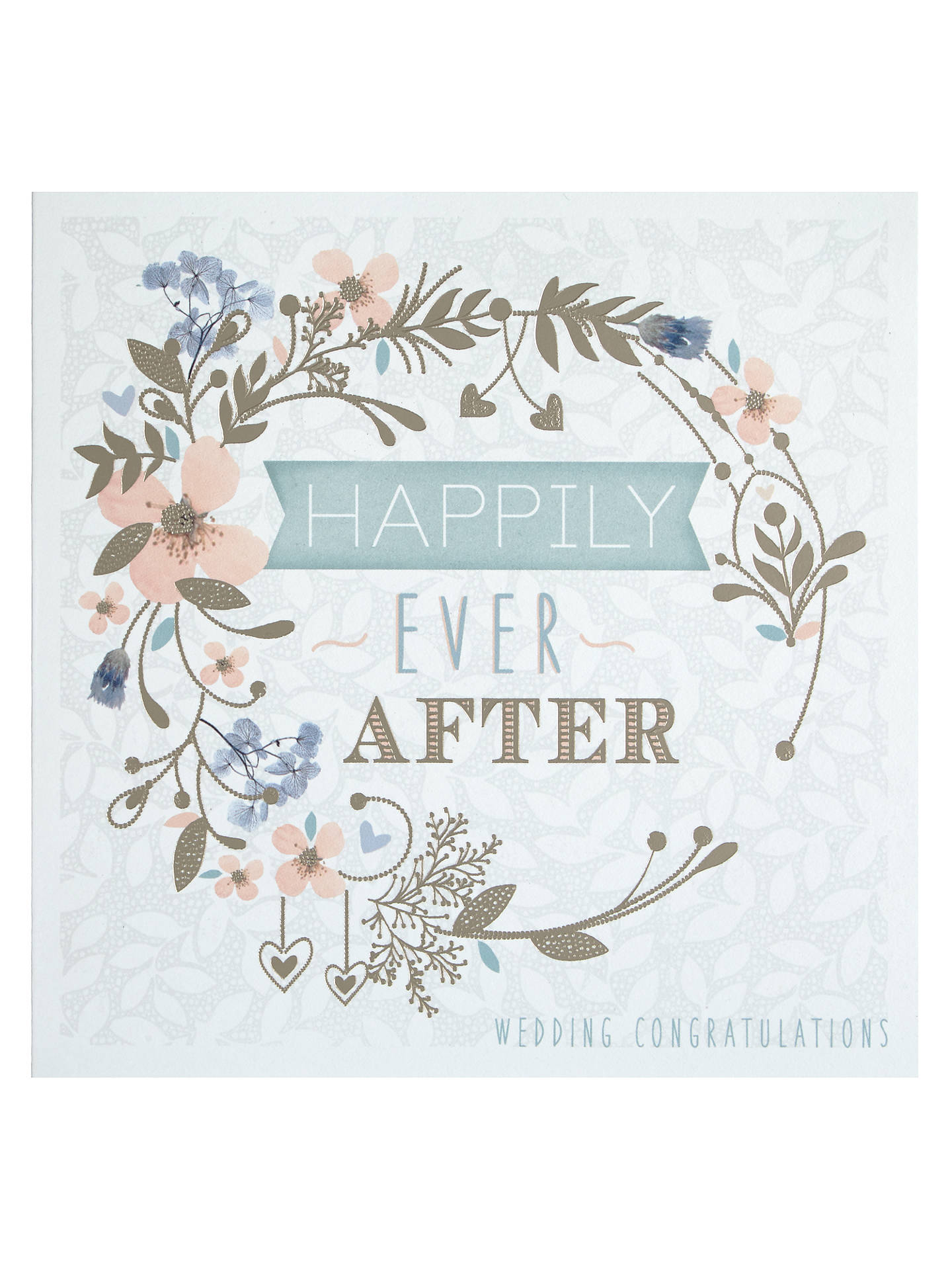 Happily Ever After Floral Circle Wedding Congratulations Card At