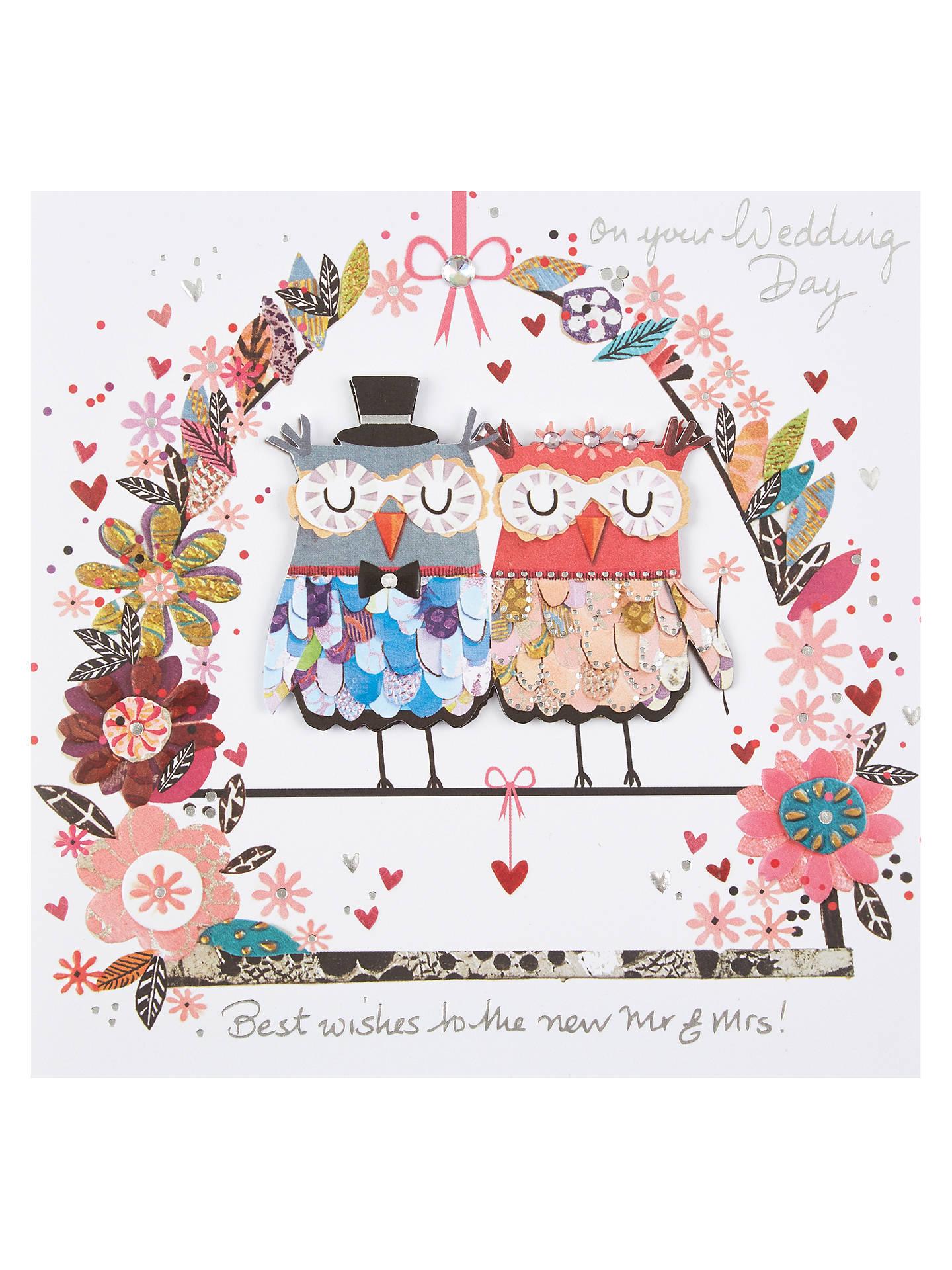 Paper Rose Mr and Mrs Owl Handmade Wedding Card at John ...