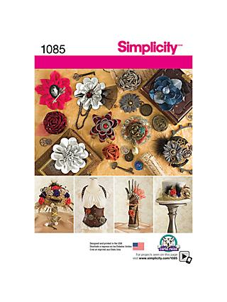 Simplicity Decorative Fabric Flowers Sewing Pattern, 1085