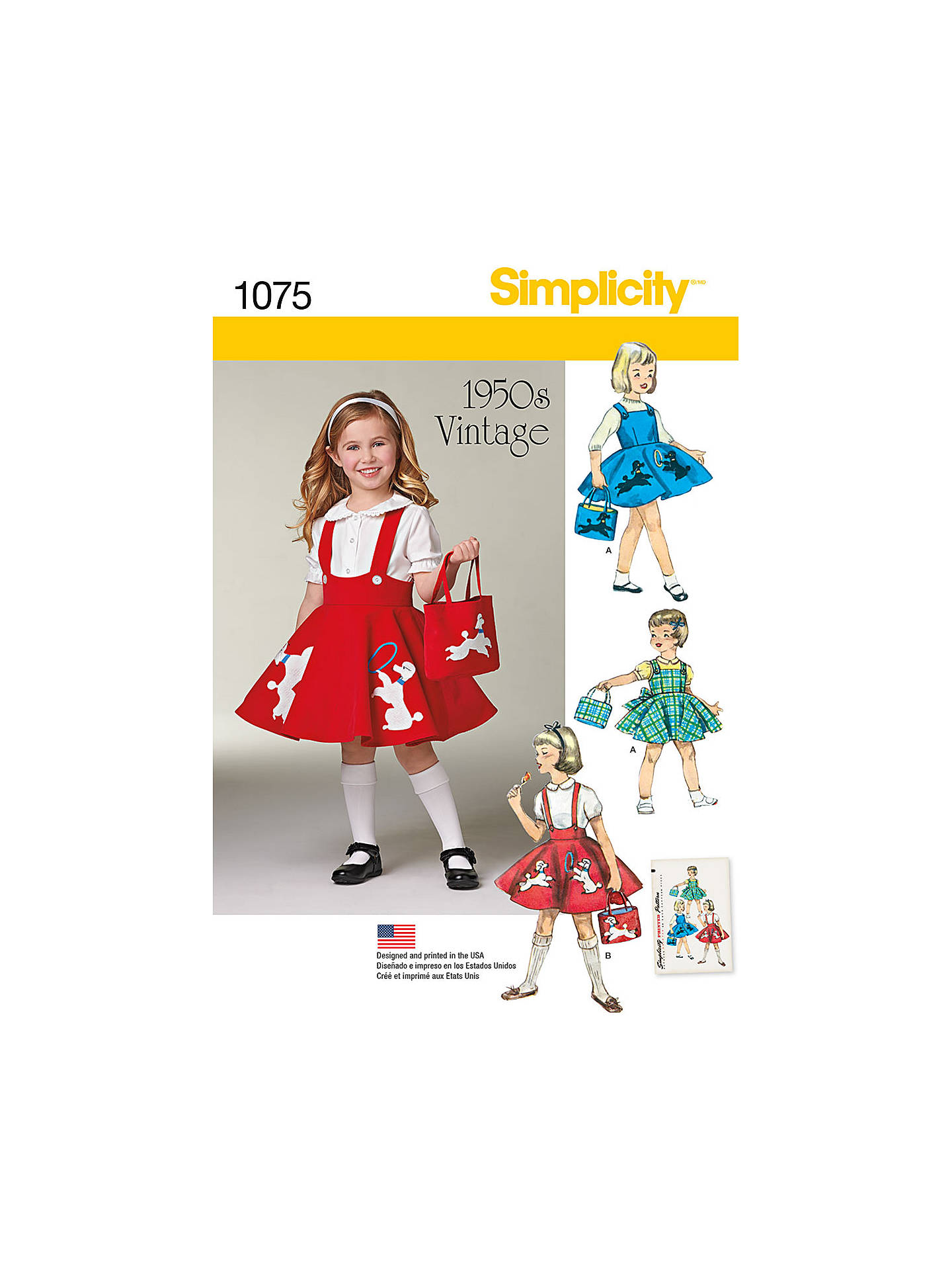 Simplicity Children\'s Vintage 1950s Sewing Pattern, 1075 at John ...