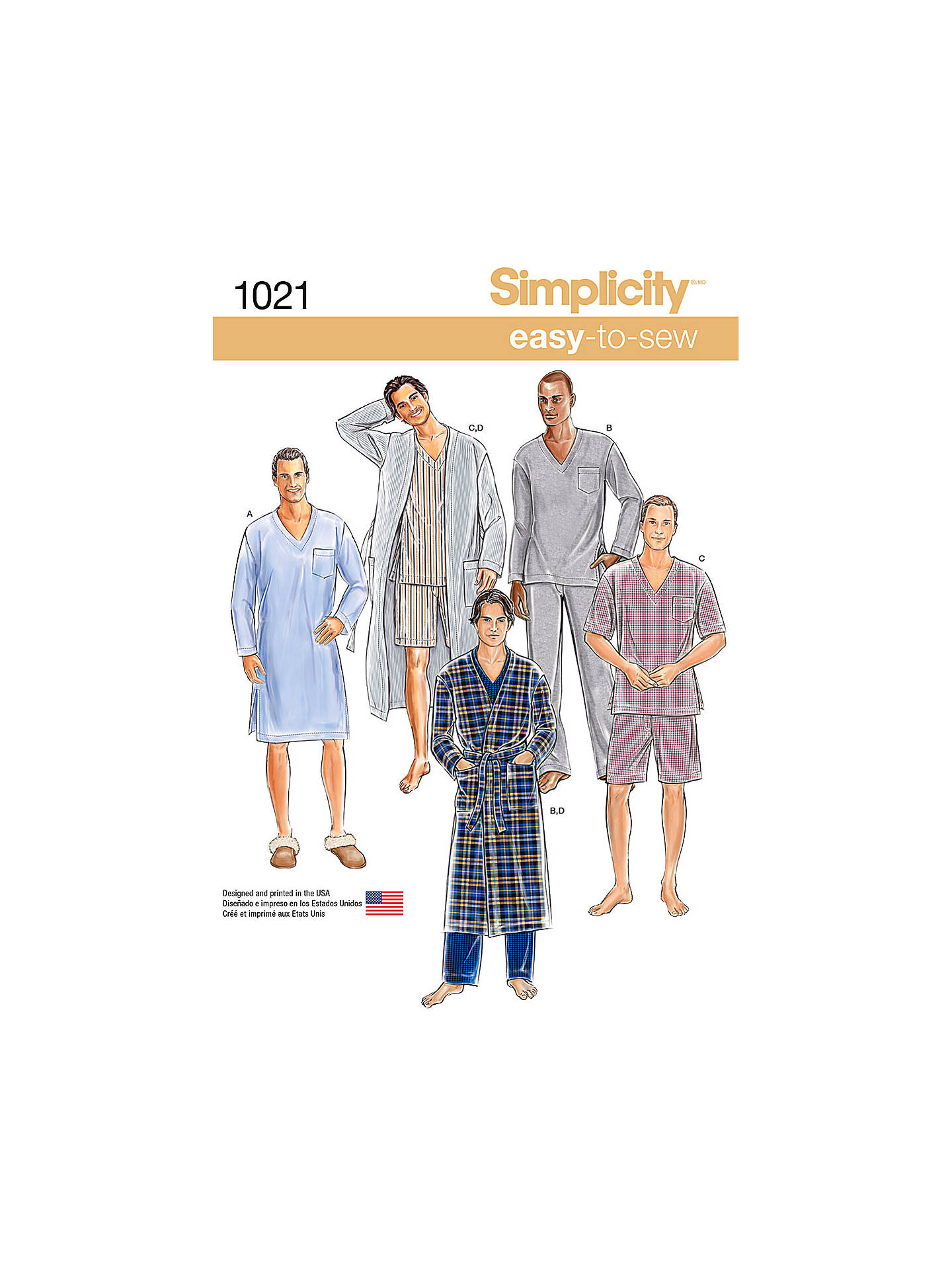 Simplicity Men\'s Classic Pyjamas and Robe Sewing Pattern, 1021 at ...