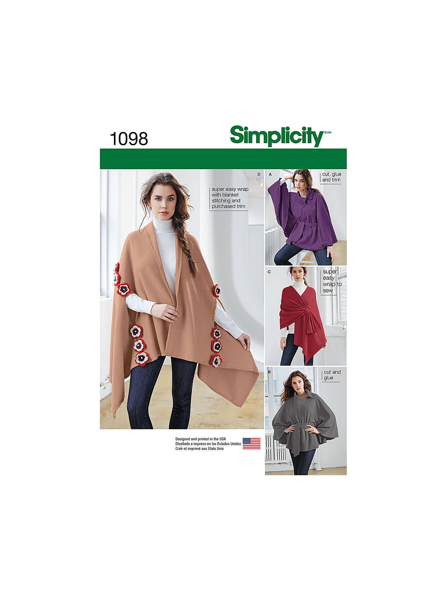 Simplicity Women\'s Fleece Poncho And Wraps Sewing Pattern, 1098, One ...