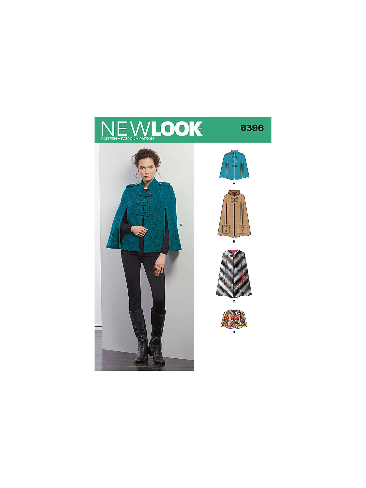 New Look Women's Cape Jacket Sewing Pattern, 6396 at John