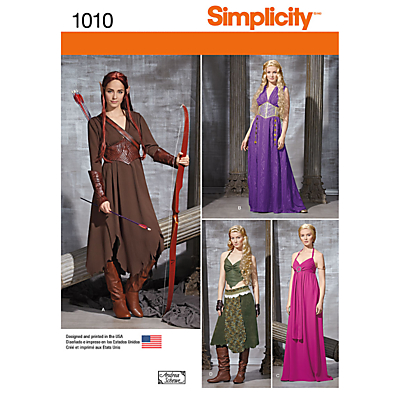 Image of Simplicity Misses' Medieval Fantasy Costumes Sewing Pattern, 1010