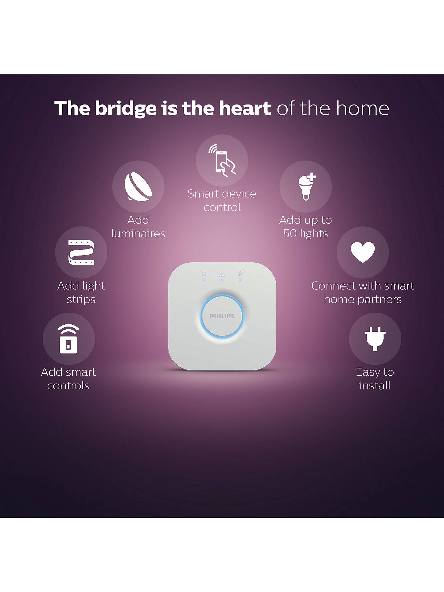 Philips Hue Personal Wireless Lighting Bridge, Apple Homekit Enabled