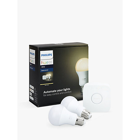 buy philips hue white personal wireless lighting led starter kit john lewis. Black Bedroom Furniture Sets. Home Design Ideas