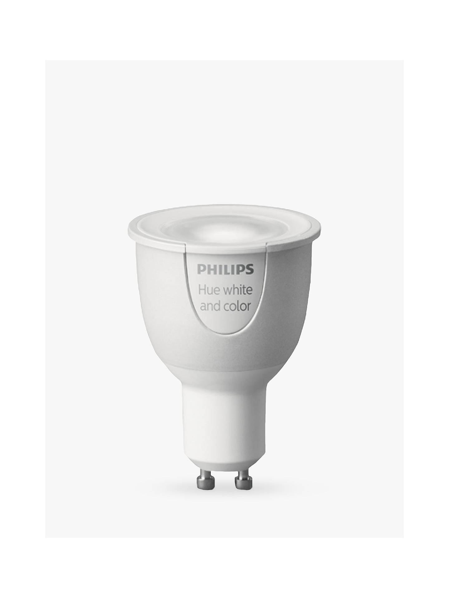 BuyPhilips Hue White and Colour Ambiance Wireless Lighting LED Colour Changing Light Bulb, 6.5W GU10 Bulb Online at johnlewis.com