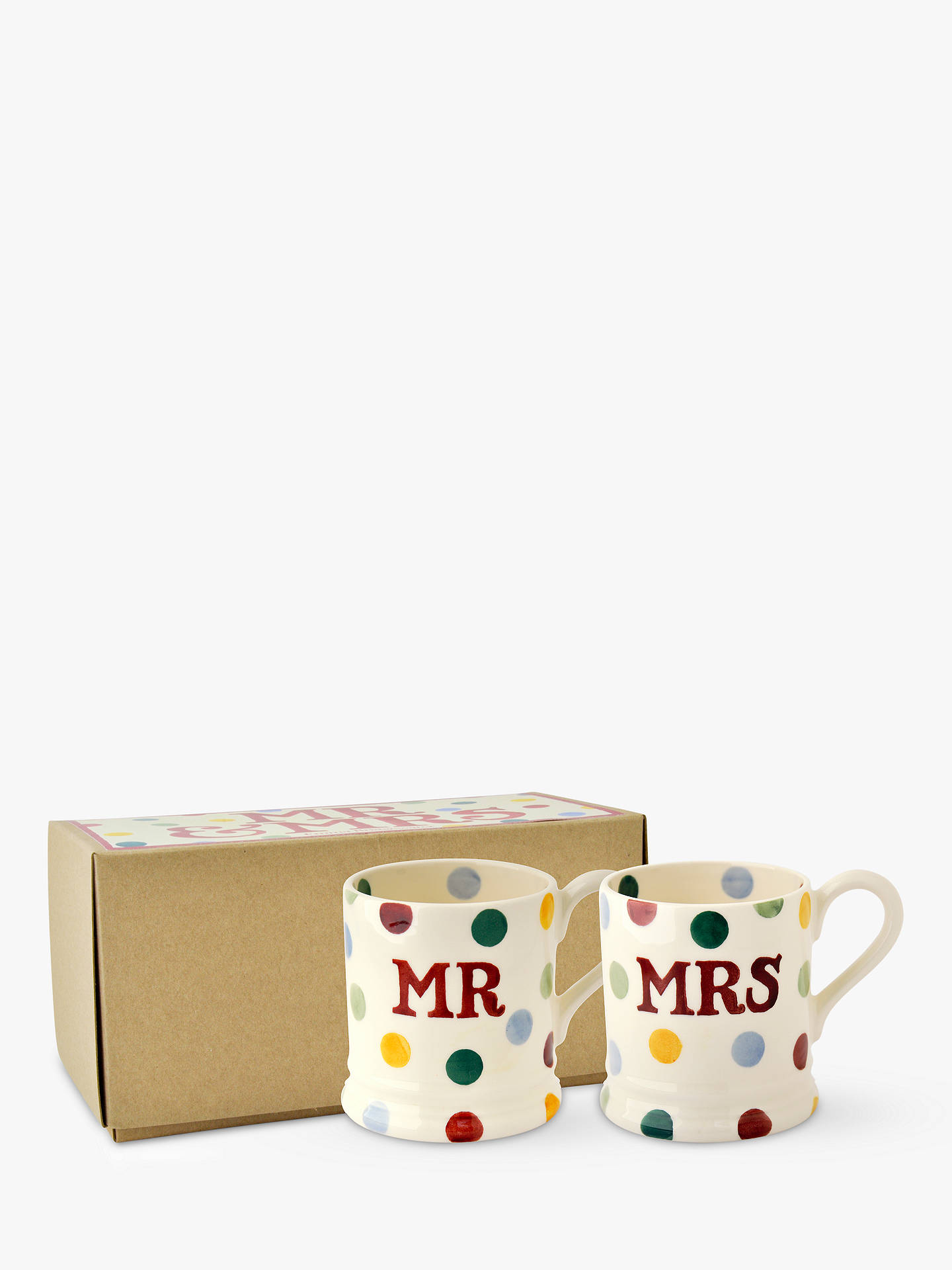 81681e556b0 Emma Bridgewater Polka Dot Mr & Mrs Mugs, Set of 2, Multi, 310ml