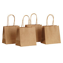 Buy John Lewis Mini Paper Gift Bags, Pack of 4, Brown Online at johnlewis.com