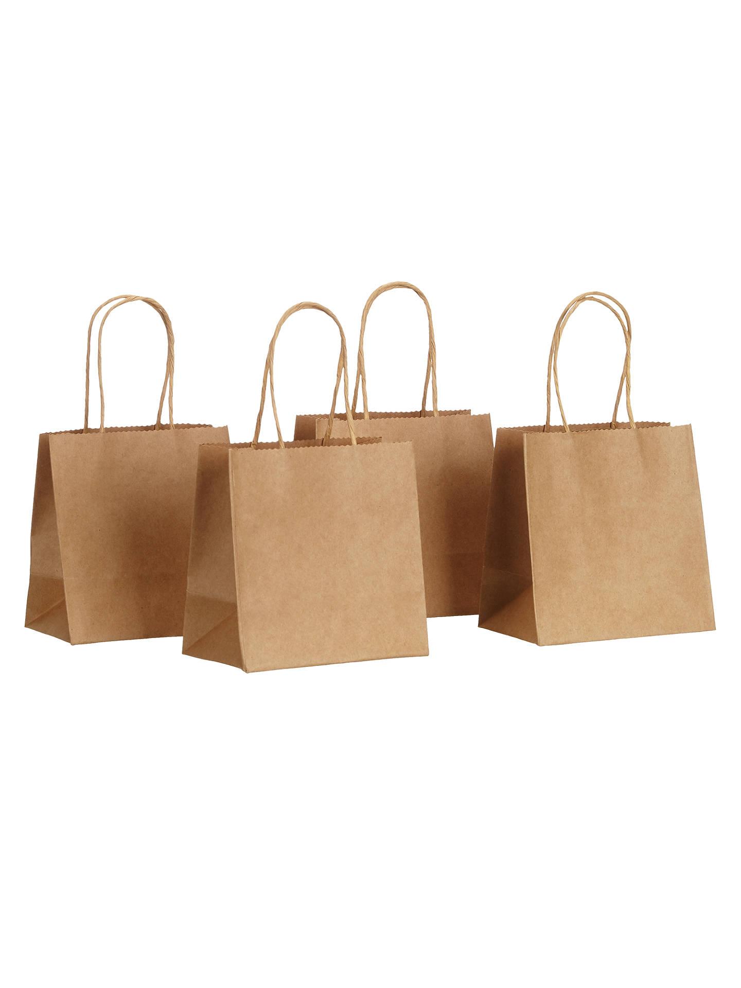 John Lewis Partners Mini Paper Gift Bags Pack Of 4 Brown Online At