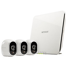 Buy Netgear Arlo Smart Security System With 3 HD Cameras, White Online at johnlewis.com