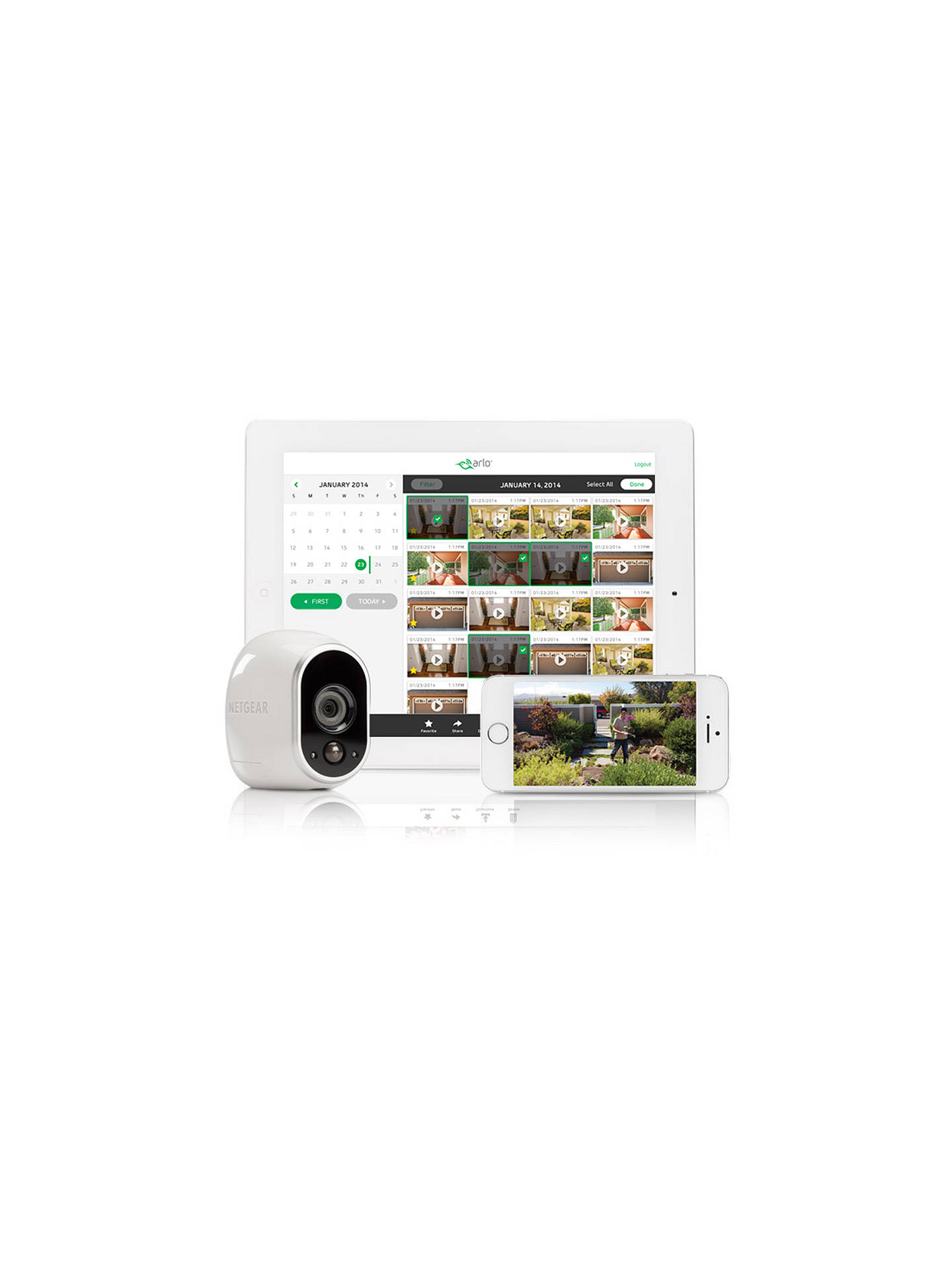 Netgear Arlo Smart Security System With 3 HD Cameras, White