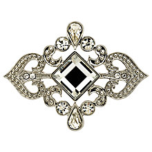 Buy Monet Crystal Scroll Brooch, Silver Online at johnlewis.com