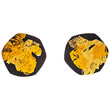 Buy Be-Jewelled Gold Plated Oxydised Sterling Silver Hexagon Stud Earrings, Gold/Black Online at johnlewis.com