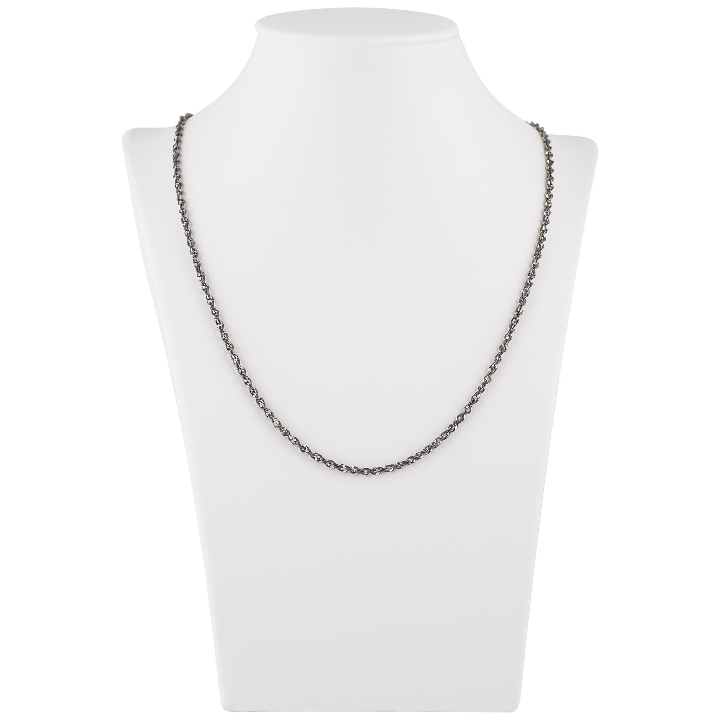 Be-Jewelled Be-Jewelled Singapore Oxidised Sterling Silver Diamond Cut Rope Chain Necklace, Silver