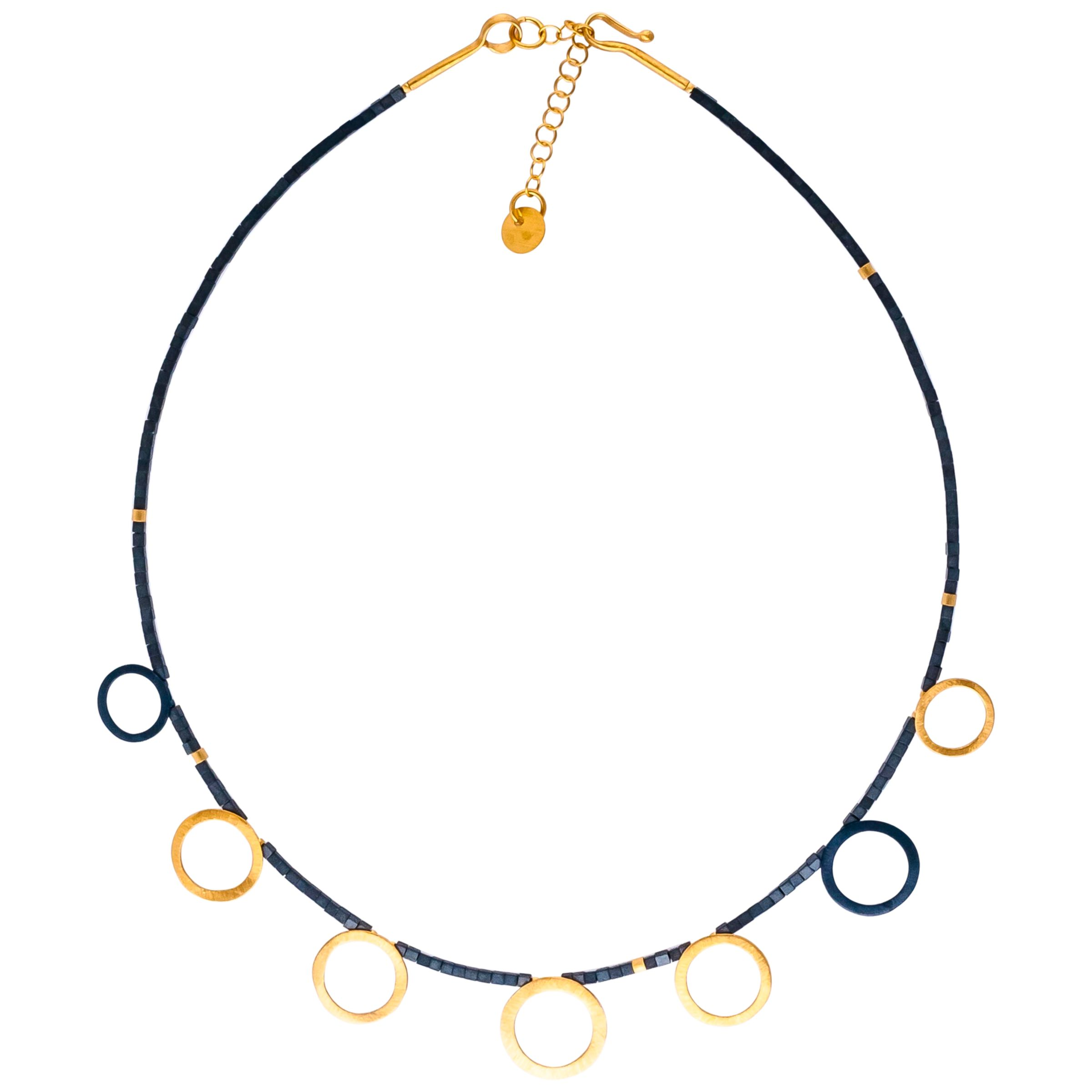 Be-Jewelled Be-Jewelled Gold Plated Oxydised Sterling Silver Circle Hematite Necklace, Gold/Black