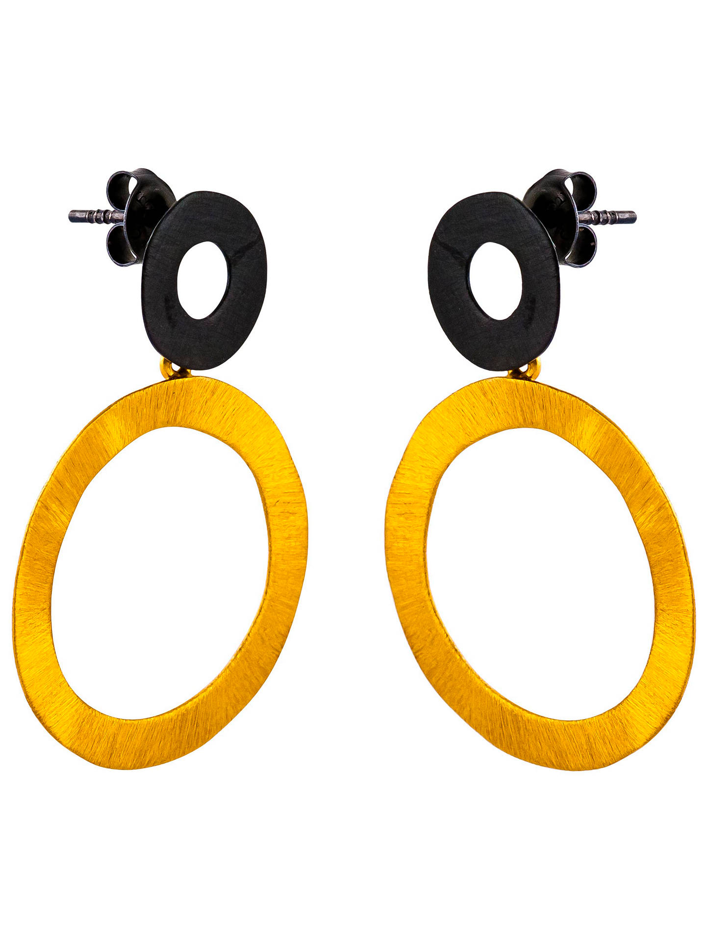 BuyBe-Jewelled Gold Plated Oxydised Sterling Silver Circle Drop Earrings, Gold/Black Online at johnlewis.com