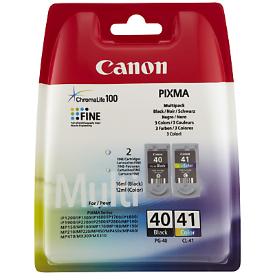 Canon PIXMA PG-40 Black & CL-41 Colour Ink Cartridge Multipack, Pack of 2