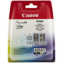 Buy Canon PIXMA PG-40 Black & CL-41 Colour Ink Cartridge Multipack, Pack of 2 Online at johnlewis.com