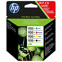 Buy HP 920 XL Black, Cyan, Magenta & Yellow Multipack, Pack of 4 Online at johnlewis.com