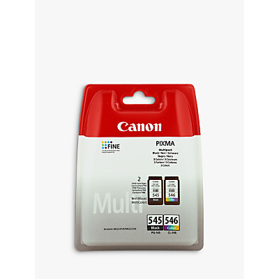 Canon PIXMA PG-545 Black & CL-546 Tri-Colour Ink Cartridge Multipack, Pack of 2